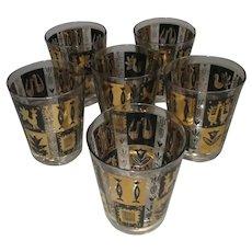 Six Decorative Tumblers Glasses Vintage c1980