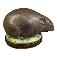 Enamel And Brass Bonbonniere Or Snuff Box In A Form Of A Mouse Antique Georgian c1820