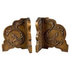 Walnut Wood Carved Bookends Antique Art Nouveau Period c1910