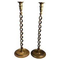 Tall Pair of Brass Barley Twist Candlesticks Antique Victorian c1900