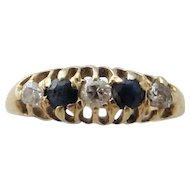 18k / 18ct Gold Sapphire and Diamond Ring Antique Victorian