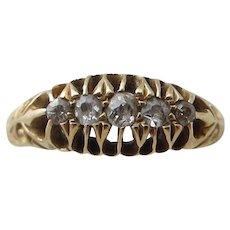 18k / 18ct Gold Five Diamond Ring Antique Edwardian