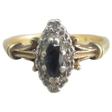 18k / 18ct Gold Sapphire and Diamond Ring Vintage 1978.