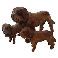 Carved Wooden Black Forest Group Of St.Bernhard Dogs Vintage Circa 1920's.