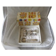 Silver Plated Boxed Three Piece Christening Set Vintage Sheffield C1960.