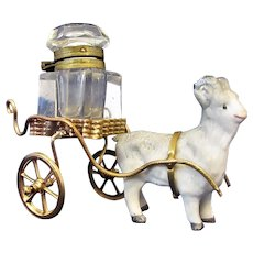 Antique Novelty Goat and Cart Ink Well c.1890