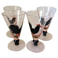 Set of 4 Vintage Art Deco Cocktail Glasses c.1930s