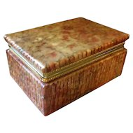 Vintage Art Deco Style Red Onyx Marble Box 1950s