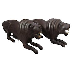 Pair Of Carved Wood Lions Art Deco c1930
