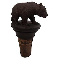Black Forest Carved Wood Bear Bottle Top Vintage c1920's