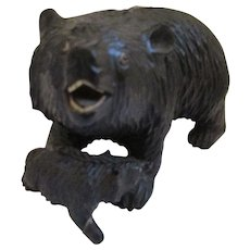 Black Forest Carved Wooden Bear And Cub Art Deco C1920's.