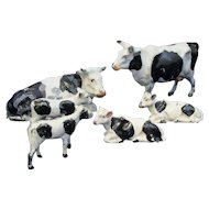 Group Of Painted Metal Farm Cows Vintage C1950's.