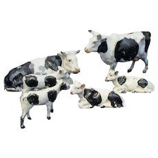 Group Of Painted Metal Farm Cows Vintage C1950's.