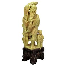Vintage Chinese Soapstone Figure of a Fisherman & Son c1940s.