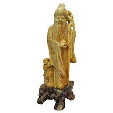 Carved Vintage Chinese Soapstone Figure of Shouxing and Follower c1920s.