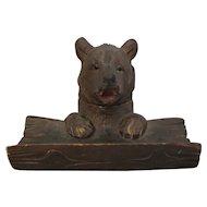Vintage Black Forest Carved Bear Ink & Pen Stand c1930.