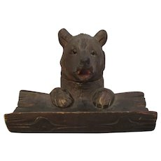 Vintage Black Forest Carved Bear Ink & Pen Stand c1930.