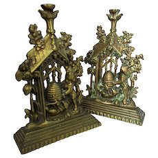 Late Victorian Pair Cast Brass Hearth Ornaments Door Stops.