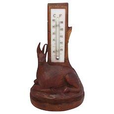 Carved Vintage Black Forest Thermometer c1920s.