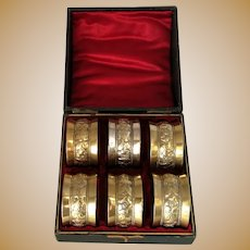 English Six Silver Plate Napkin Rings Antique c.1900.