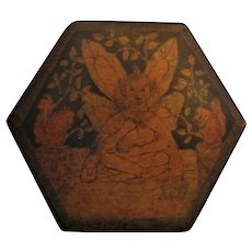 English Wooden Hand Painted Hexagonal Box Vintage c.1920.