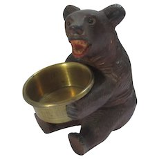 Carved Lime Wood Black Forest Bear Pin Tray Vintage Art Deco c1930.