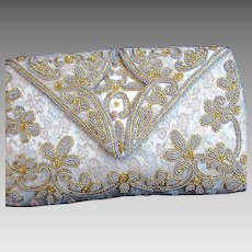 French Made Large Beaded Ladies Evening Bag Vintage