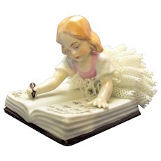 Sitzendorf Dresden Style Porcelain Lace Girl Reading a Book Vintage