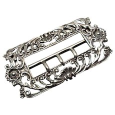 Antique Sterling Silver Belt Buckle H Syner & C Beddoes Birmingham 1898
