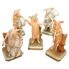 5 Piece Vintage Pig Band by Von Schierholz Porcelain Germany.