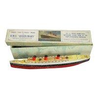 RMS Queen Mary Model In Original Box Vintage c1950