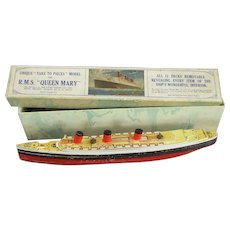 RMS Queen Mary Model In Original Box Vintage c1950