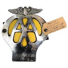 AAM Automotive Association Membership Badge Chrome & Yellow Enamel Vintage c1962/63