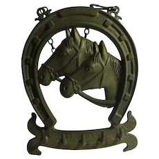 Lucky Horseshoe & Horse Heads Brass Key Rack Holder Vintage c1980