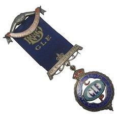 RAOB GLE Order of Buffaloes Earl Kitchener Lodge Enamel Sterling Silver Medal Vintage 1926 Art Deco