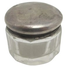 English Sterling Silver & Glass Pill Box by William Devenport Antique Edwardian 1905