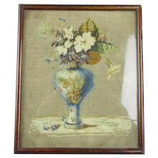 Needlepoint Floral Still Life Antique Victorian c1890