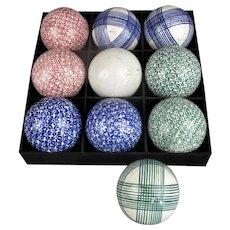 Set of 10 Scottish Ceramic Carpet Balls Antique 19th Century