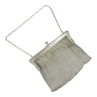 French Steel Chain Mail Evening Purse Antique Edwardian c1910