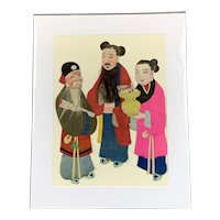 Three Chinese 3D Puppets On Canvas Vintage c1950