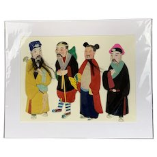 Four Chinese 3D Puppets On Canvas Vintage C1950