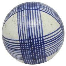 Blue Scottish Ceramic Carpet Ball Antique Victorian c1880