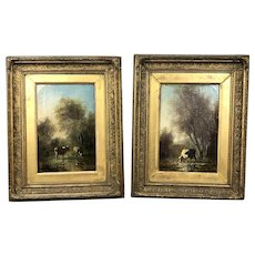 Pair Oil Paintings On Canvas Gold Original Double Frame Cows & Rural Setting Antique Victorian c1876