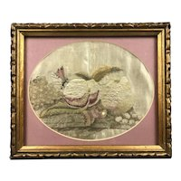 Needlepoint Still Life Fruit And Butterfly Victorian Antique c1890