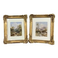 Pair Of Watercolor On Canvas Painting Antique Victorian c1860