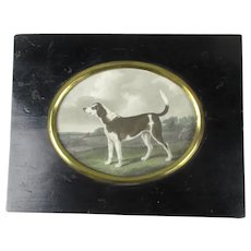 Dog Print In Early Ebonised Frame Antique Victorian c1890