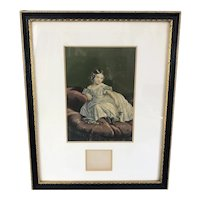 Baxter Oil Print Of Graceful Young Girl Victorian Antique c1900