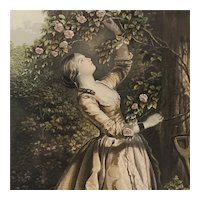 Young Lady In Rose Garden Oil Print Victorian Antique c1900