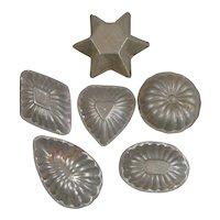 Six Metal Tin Kitchen Moulds Vintage c1920