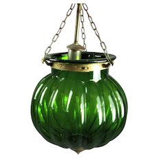 Green Glass Hanging Lamp Vintage c1970